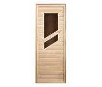 Дверь липа с 2-мя косыми стеклами (коробка хвоя) 1900х700