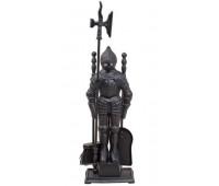 Каминный набор D50011АGК (80х20, рыцарь, 4 предмета, античное золото/черный)