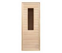 Дверь липа прямоугольное стекло (коробка осина) 1900х700